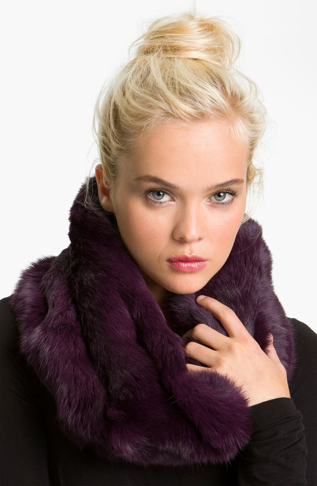 Genuine Rabbit Fur Infinity Scarf,                             Main thumbnail 1, color,                             Fig Black