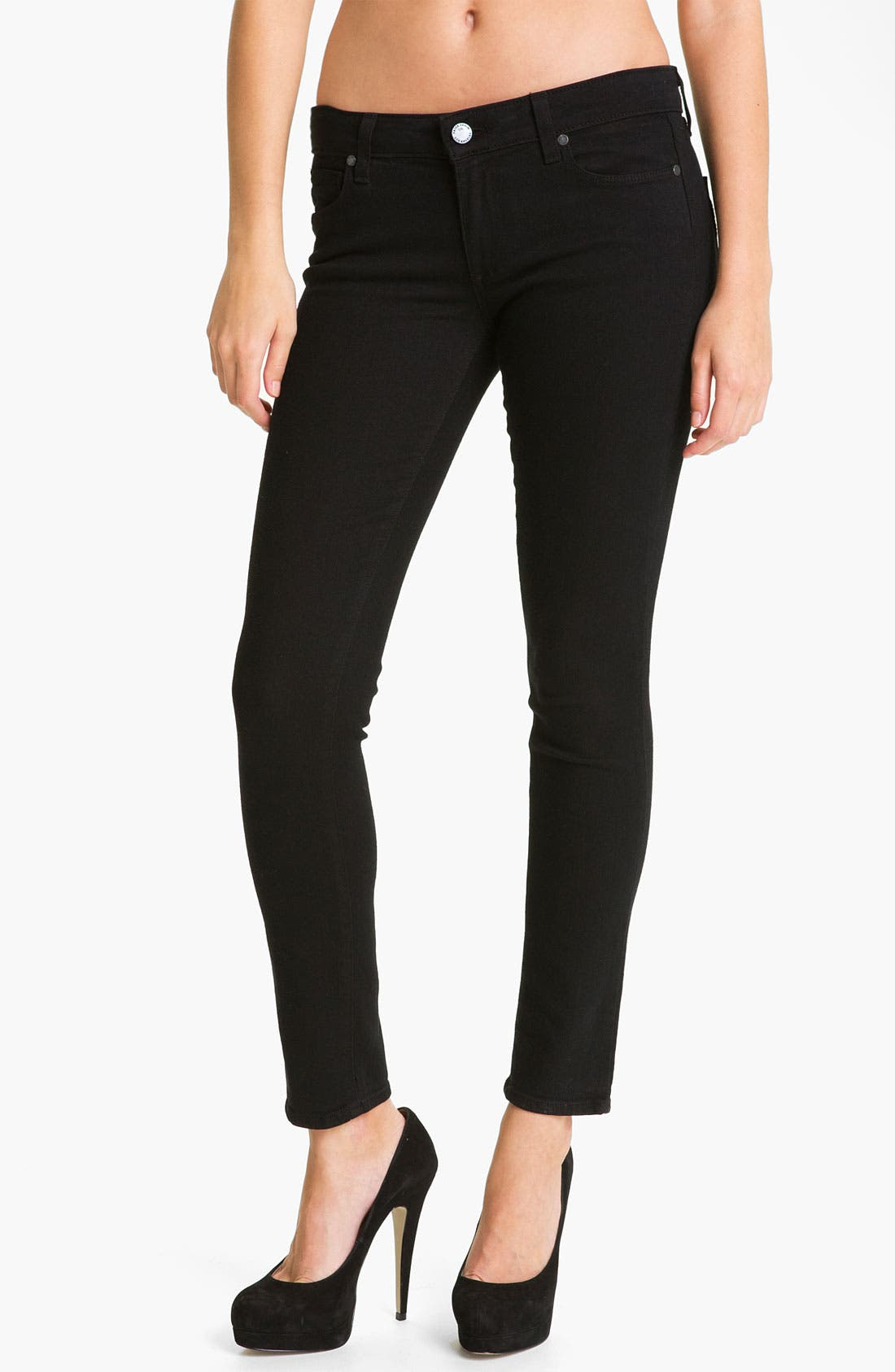 Main Image - Paige Denim 'Skyline' Ankle Peg Skinny Stretch Jeans (Black Ink)