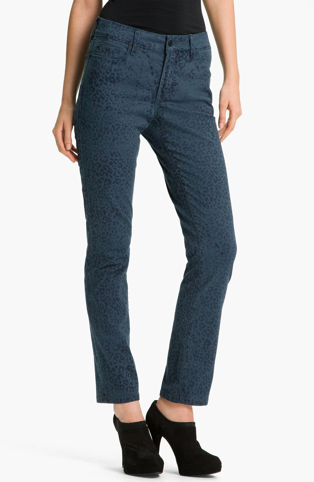 Alternate Image 1 Selected - NYDJ 'Sheri - Cheetah' Print Skinny Twill Jeans