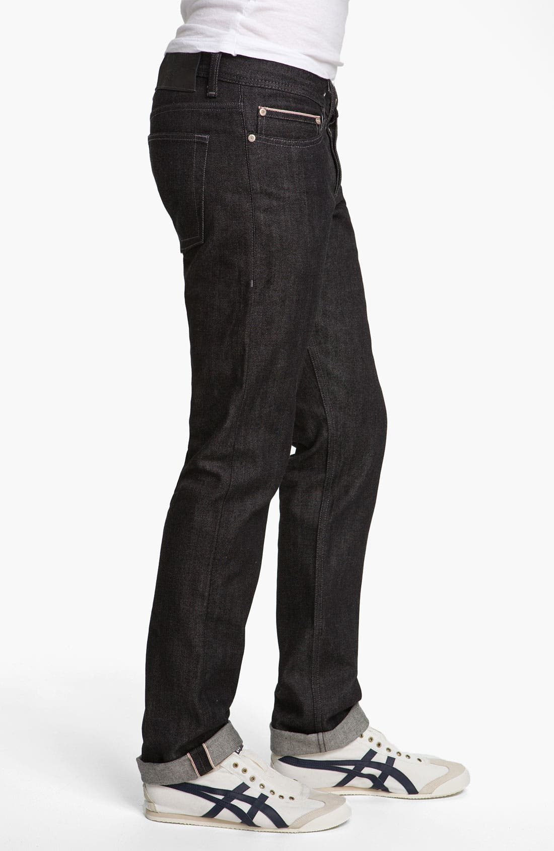 Alternate Image 3  - Naked & Famous Denim 'Weird Guy' Slim Fit Selvedge Jeans (Black)
