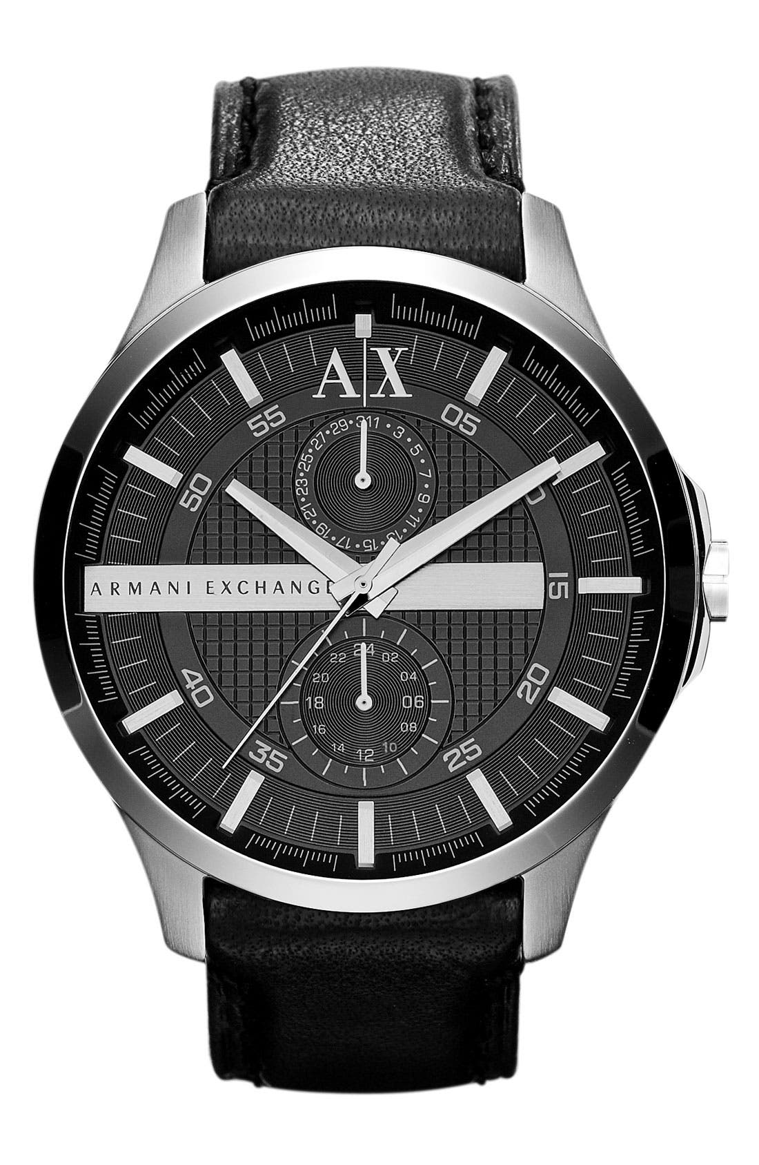 Main Image - AX Armani Exchange Round Leather Strap Watch, 46mm