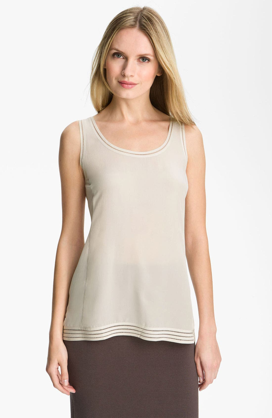 Main Image - Eileen Fisher Long Silk Crêpe de Chine Tank
