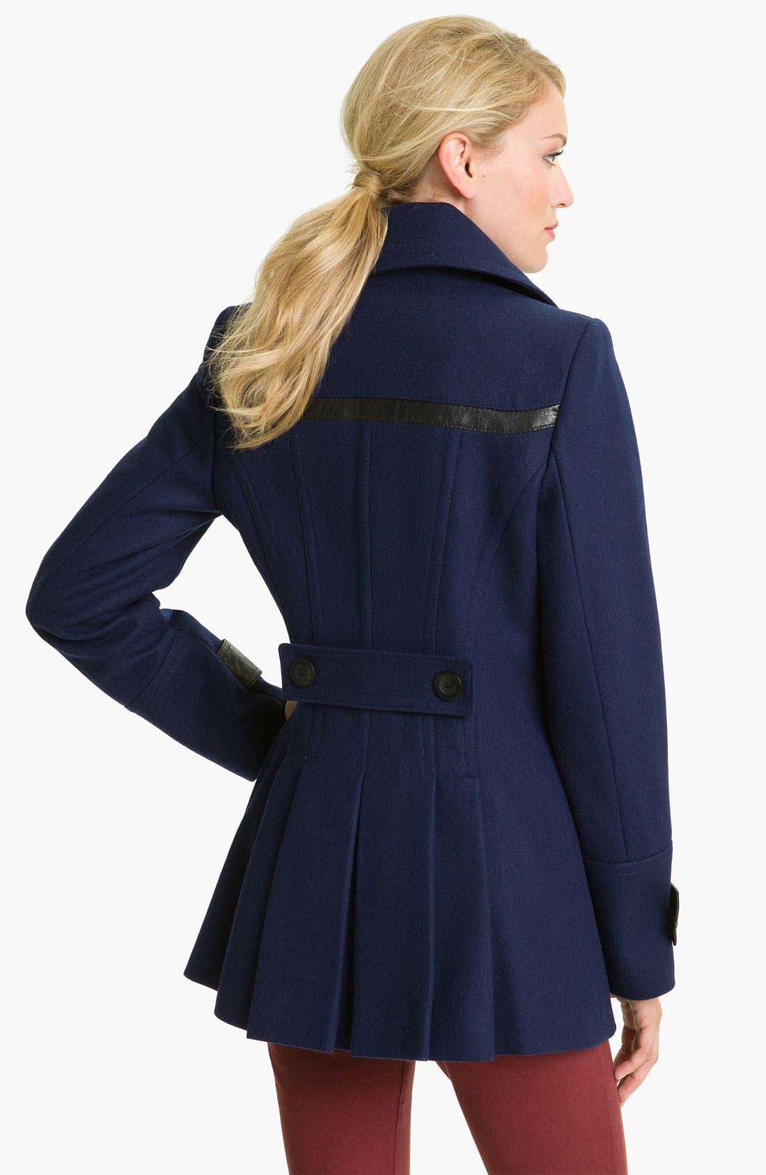 Alternate Image 2  - Via Spiga 'Elena' Faux Leather Trim Wool Blend Coat