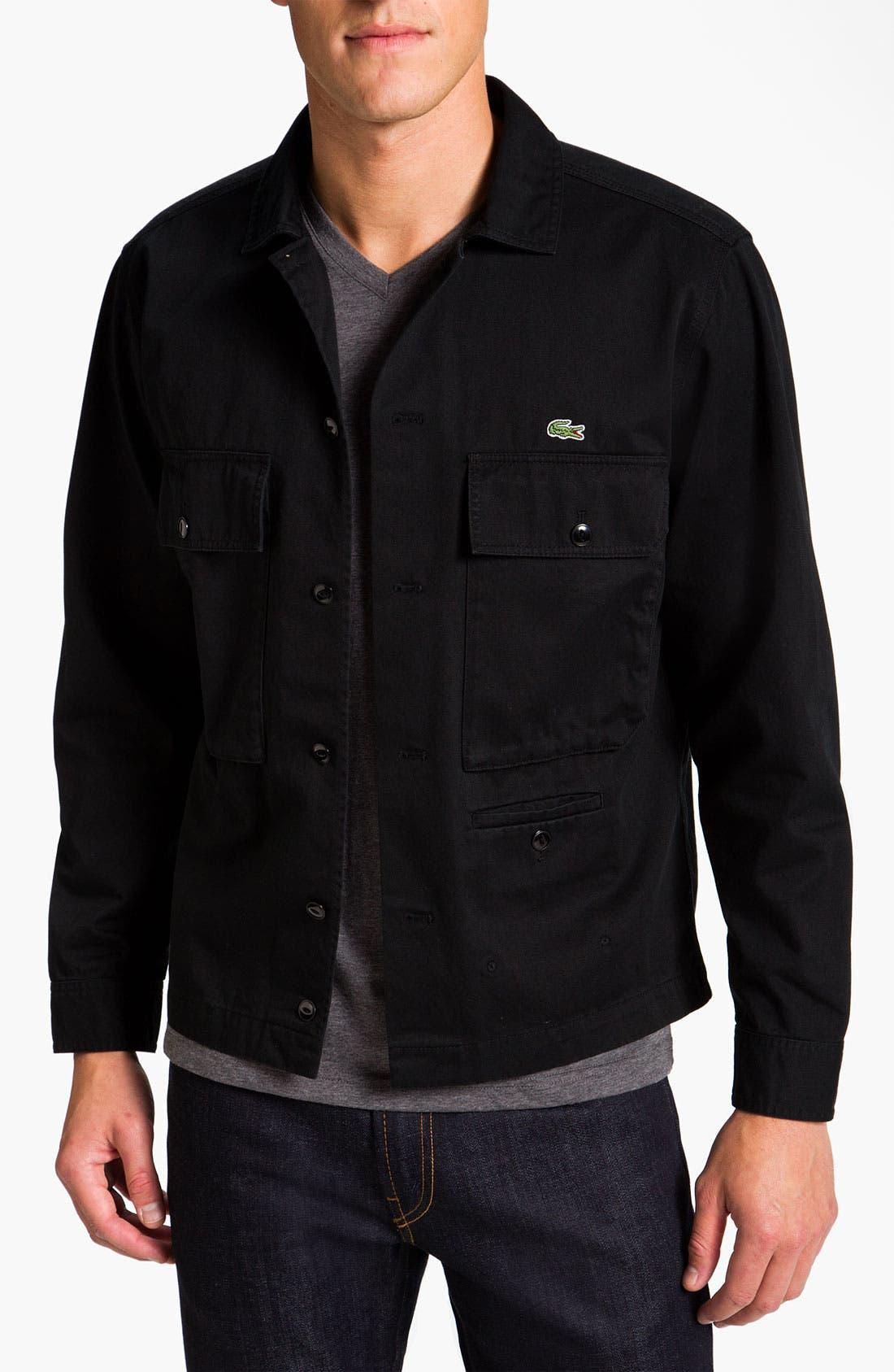 Main Image - Lacoste L!VE Cotton Twill Trim Fit Shirt Jacket