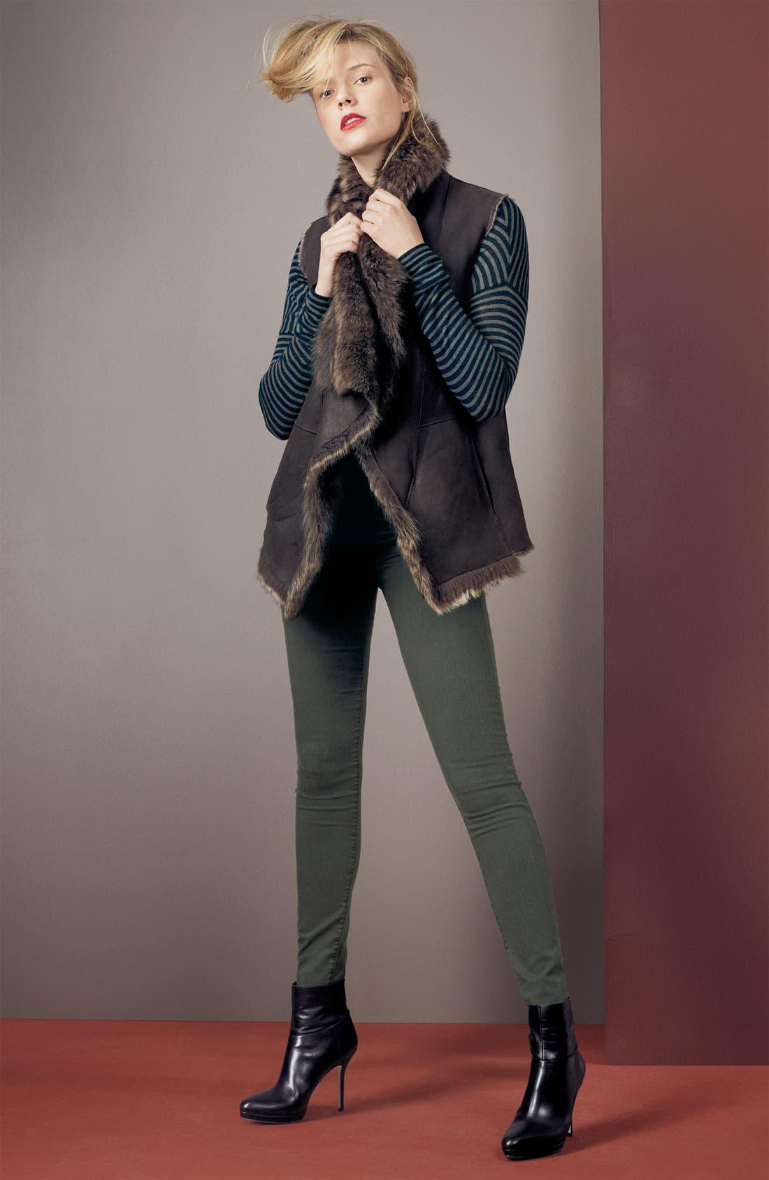 Main Image - Vince Genuine Shearling Vest & Boatneck Sweater