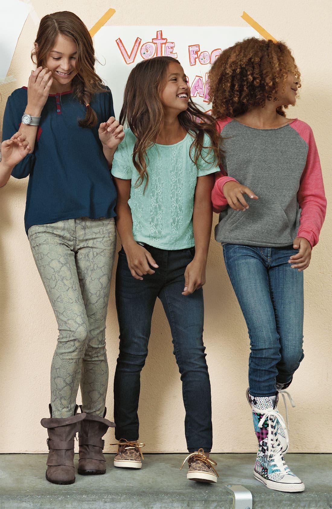 Alternate Image 2  - Little Pretties Lace Tee (Big Girls)