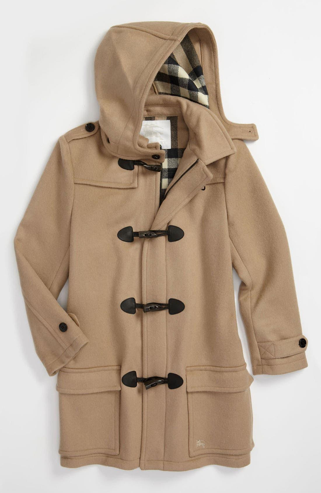 Main Image - Burberry Wool Duffle Coat (Big Girls)