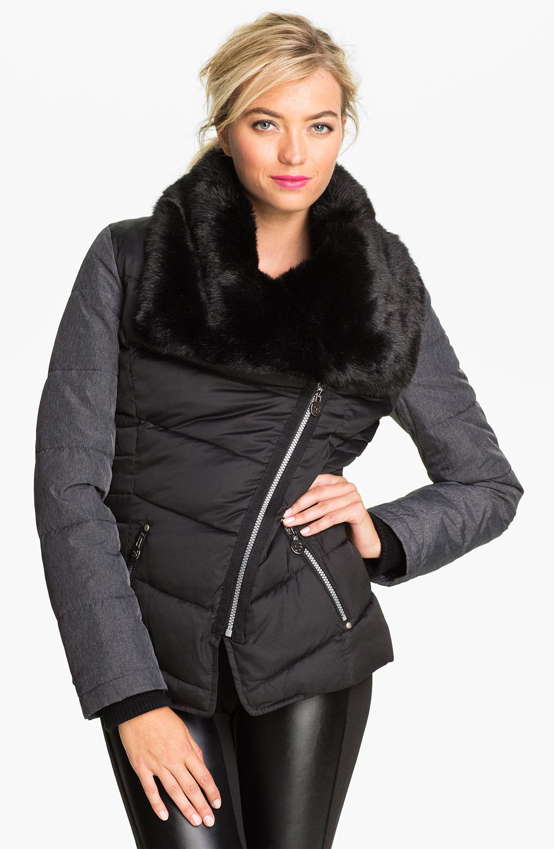 Alternate Image 1 Selected - Buffalo by David Bitton Faux Fur Trim Quilted Coat