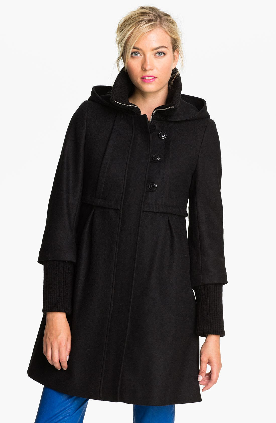 Main Image - DKNY 'Bethany' Knit Inset Wool Blend Coat