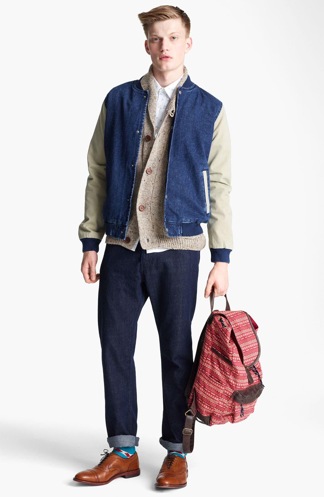 Alternate Image 4  - Topman 'Bepping' Denim Baseball Jacket