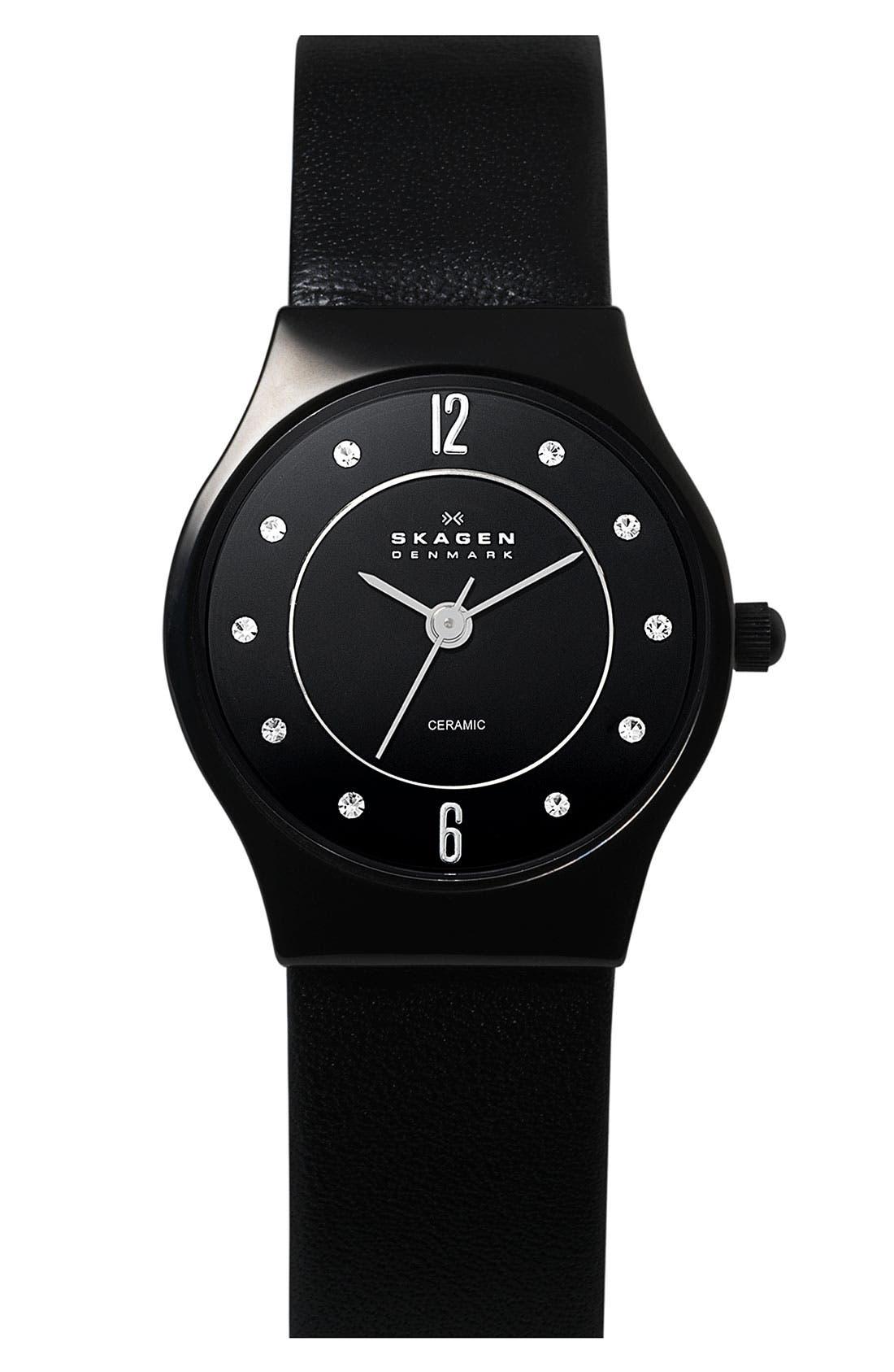 Alternate Image 1 Selected - Skagen 'Grenen' Round Ceramic Leather Strap Watch