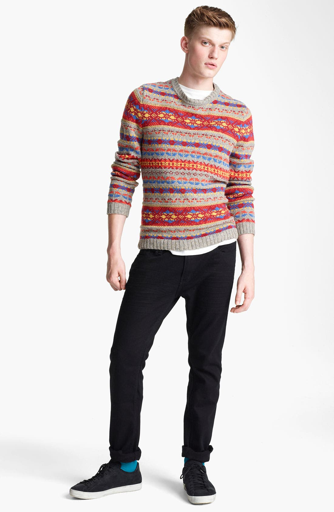 Alternate Image 4  - Topman Fair Isle Crewneck Sweater with Elbow Patches