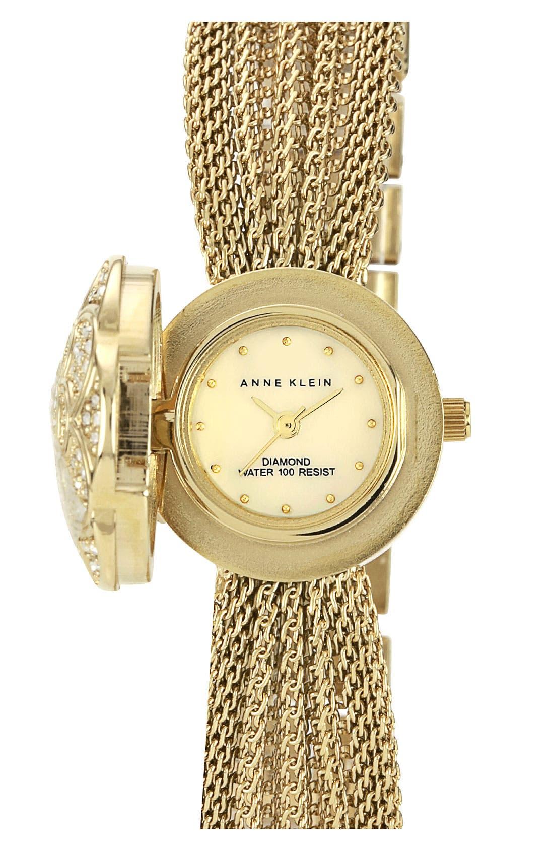 Main Image - Anne Klein Flower Case Chain Bracelet Watch, 18mm