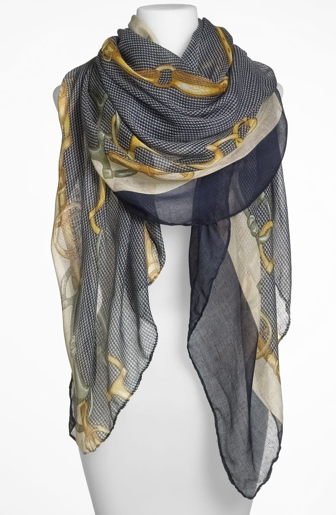 Alternate Image 1 Selected - Lulu Equestrian Print Sheer Scarf