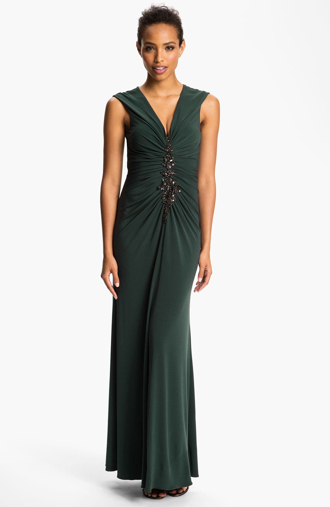 Main Image - JS Boutique Embellished Front Ruched Jersey Gown