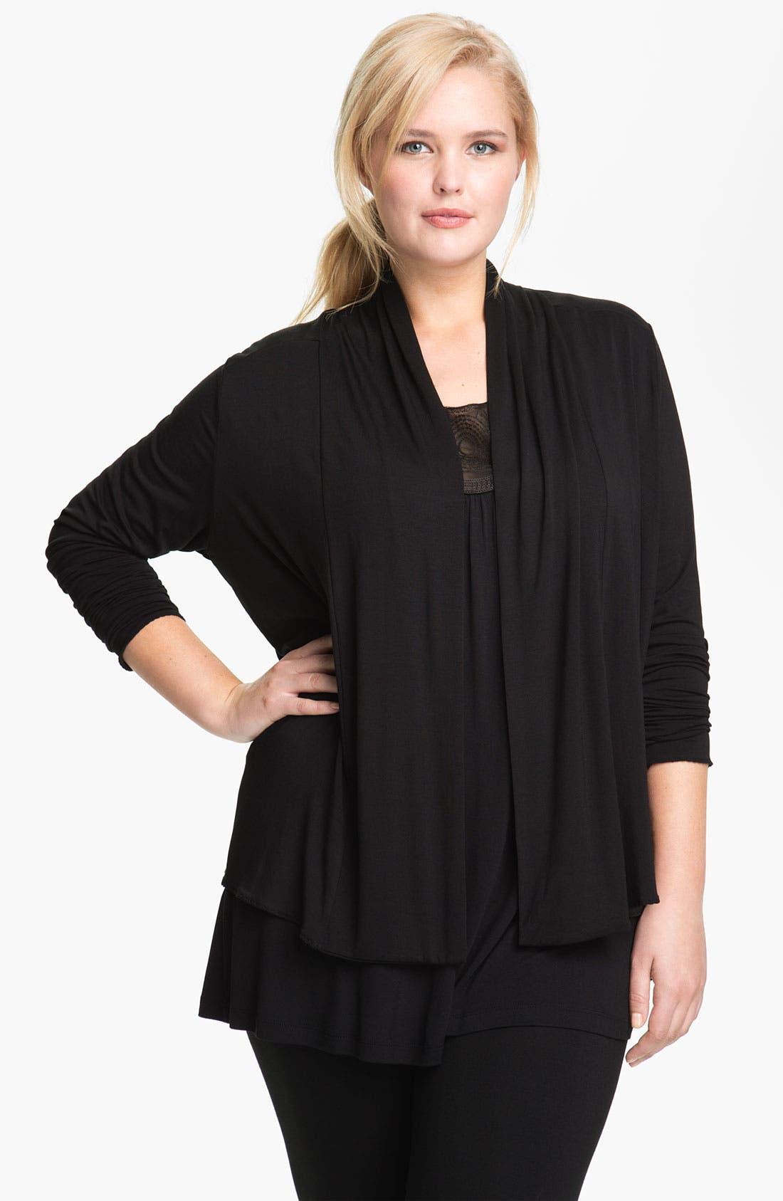 Main Image - Kische Open Front Knit Cardigan (Plus Size)