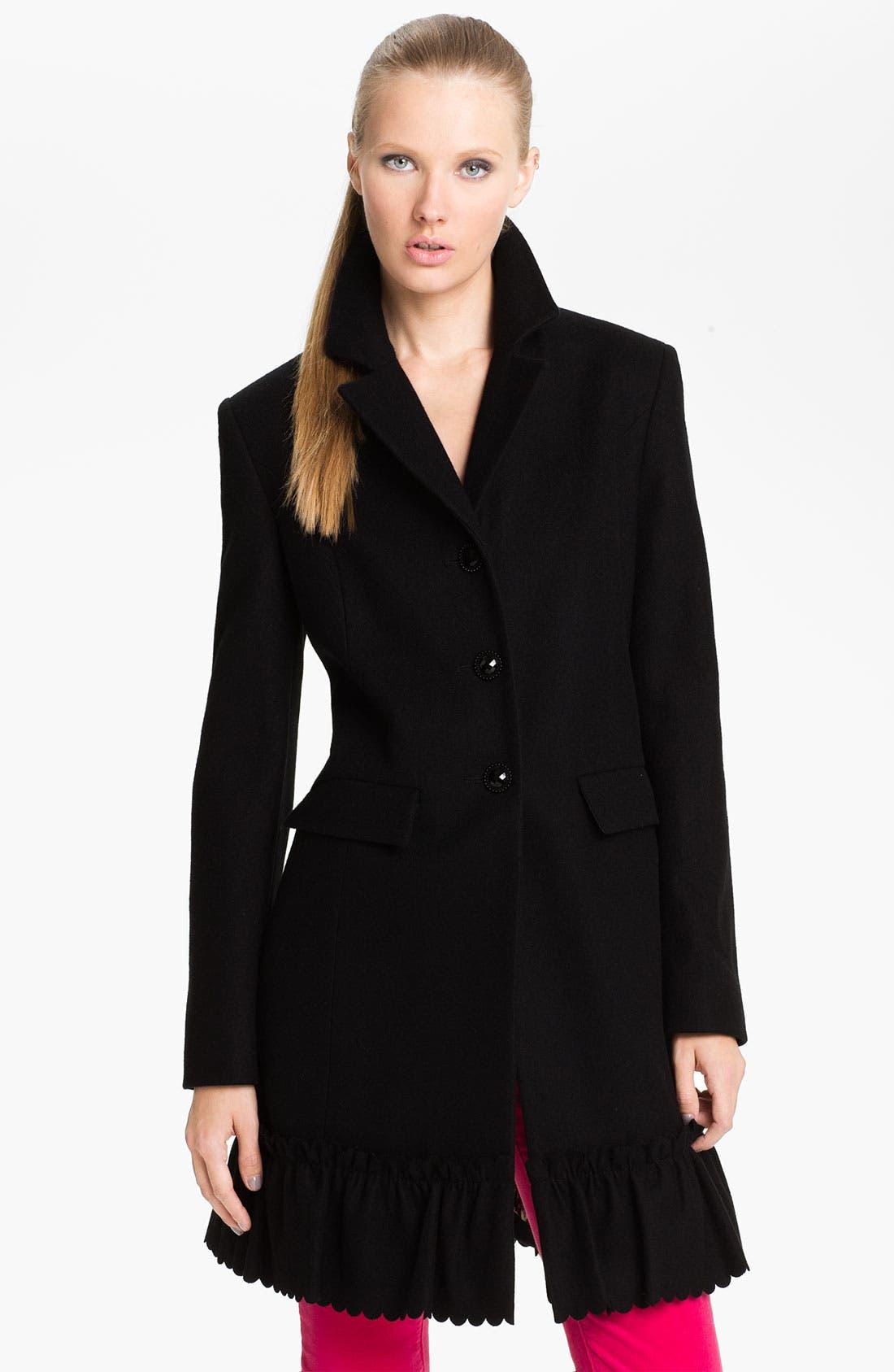 Alternate Image 1 Selected - Betsey Johnson Ruffle Hem Walking Coat