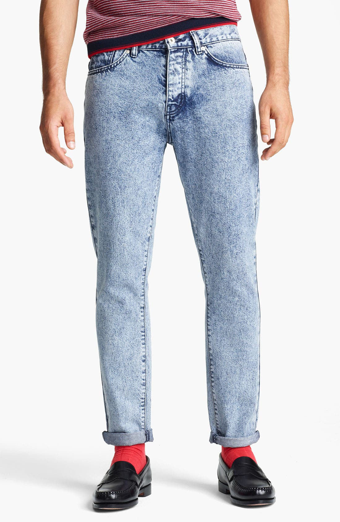 Alternate Image 1 Selected - Topman Vintage Skinny Jeans (Light Wash)