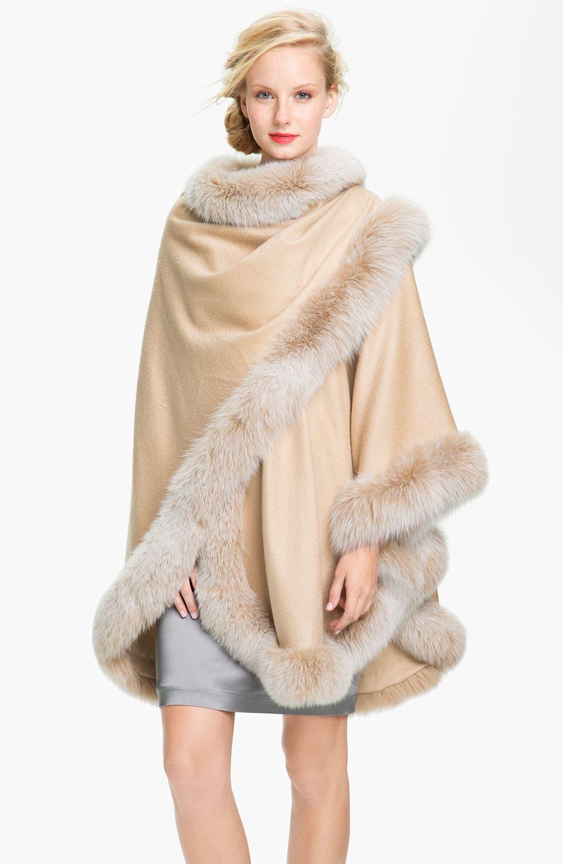 Main Image - Sofia Cashmere Genuine Fox Fur Trim Cape