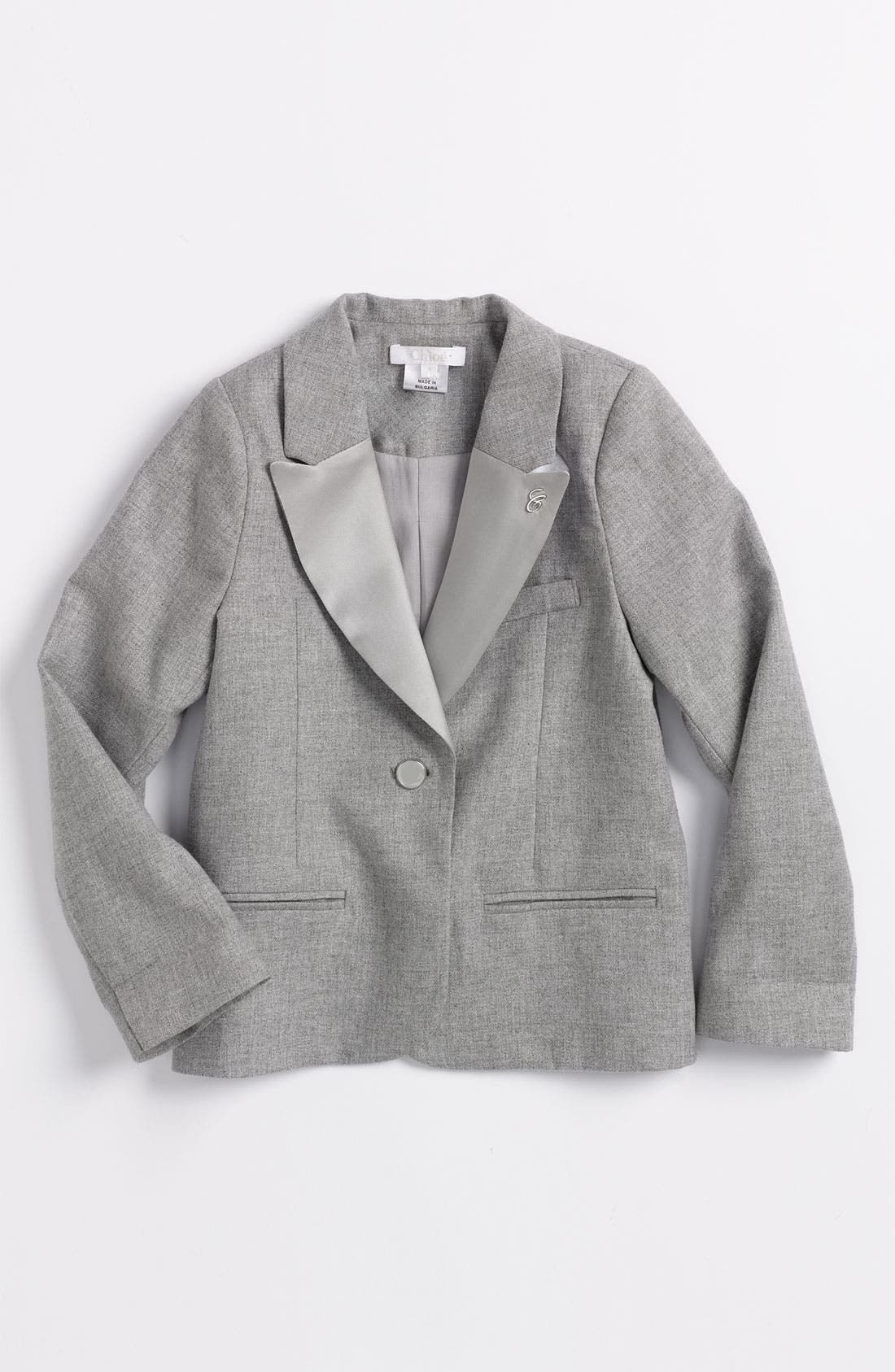 Alternate Image 1 Selected - Chloé Sateen Lapel Twill Blazer (Little Girls & Big Girls)