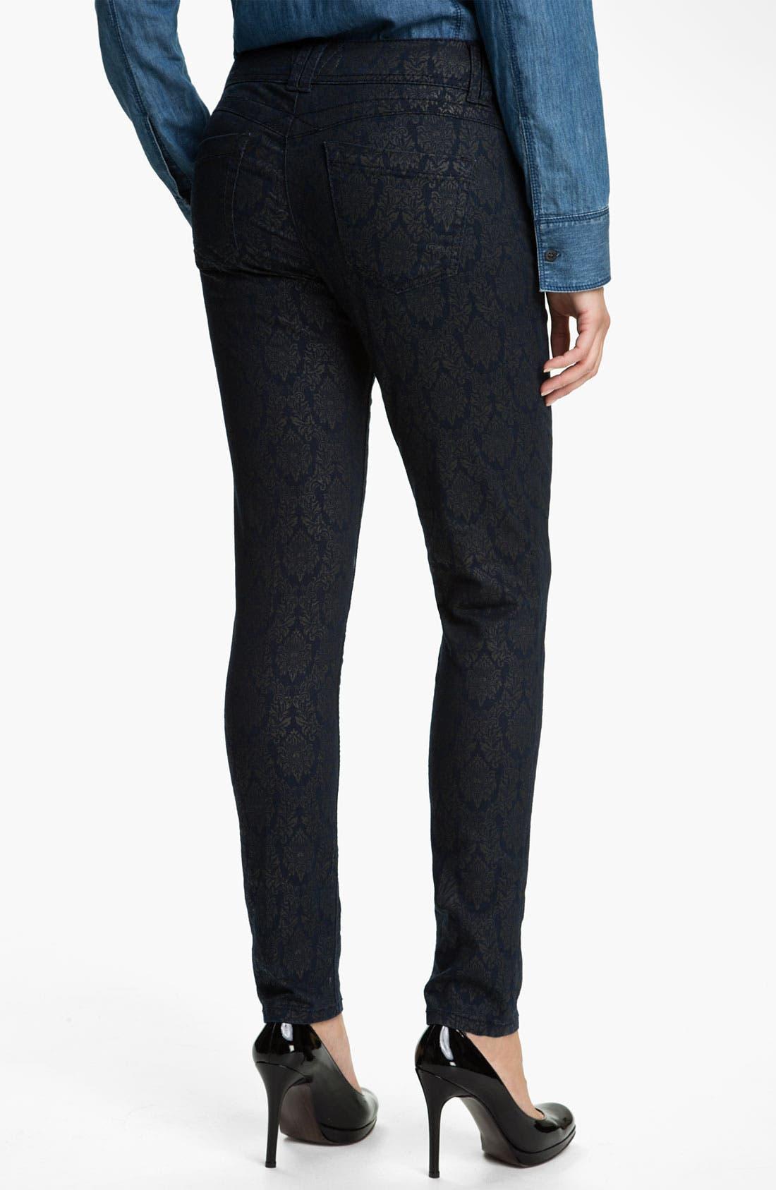 Alternate Image 2  - Wit & Wisdom Brocade Print Skinny Jeans (Indigo) (Nordstrom Exclusive)