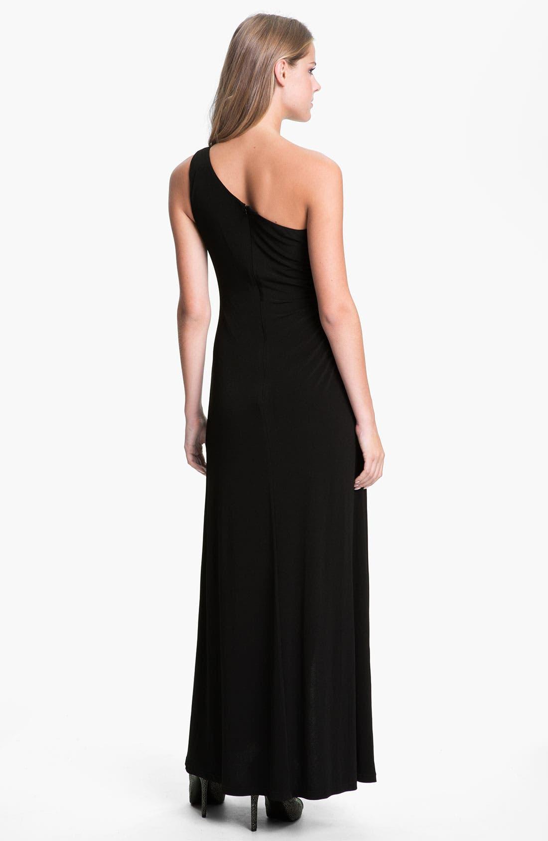 Alternate Image 2  - Calvin Klein One Shoulder Mesh Inset Jersey Gown