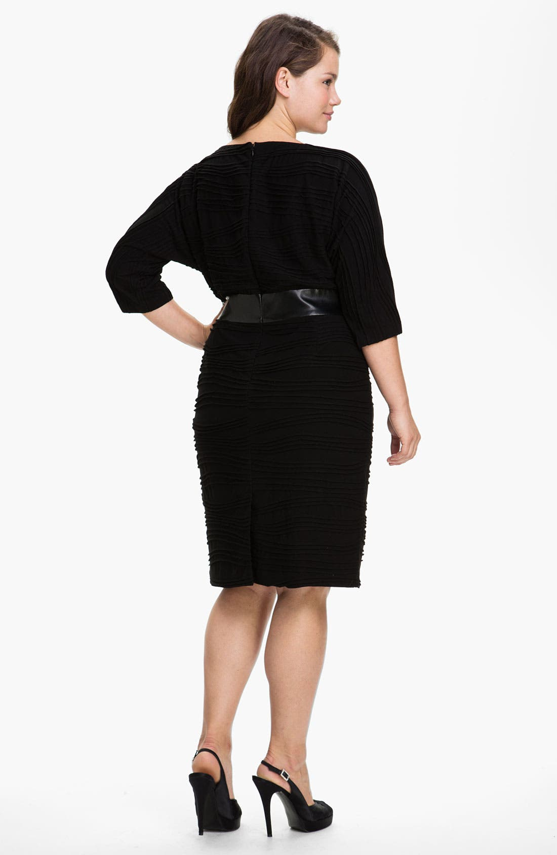 Alternate Image 2  - Adrianna Papell Faux Leather Trim Jersey Sheath Dress (Plus)