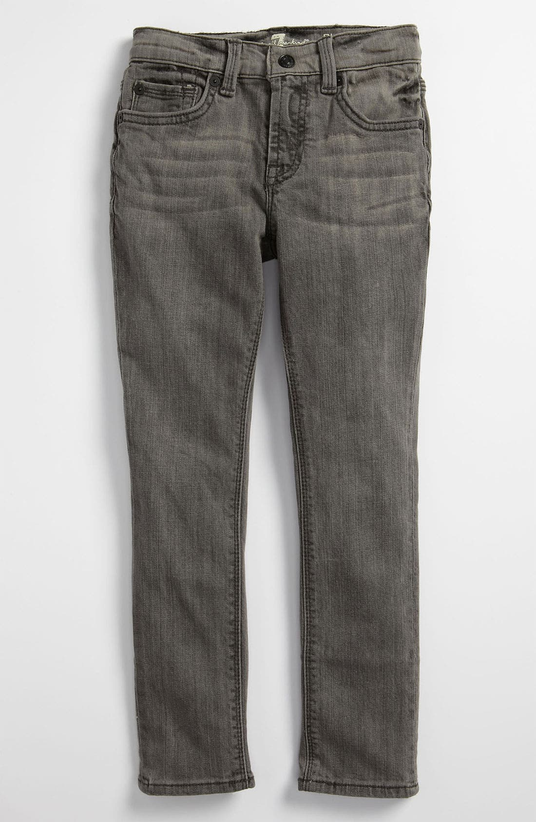 Alternate Image 2  - 7 For All Mankind® 'Rhigby' Skinny Jeans (Shadow Soft Grey) (Little Boys)