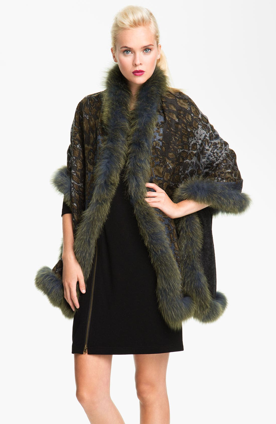 Alternate Image 1 Selected - La Fiorentina Genuine Fox Fur Trim Wool Wrap