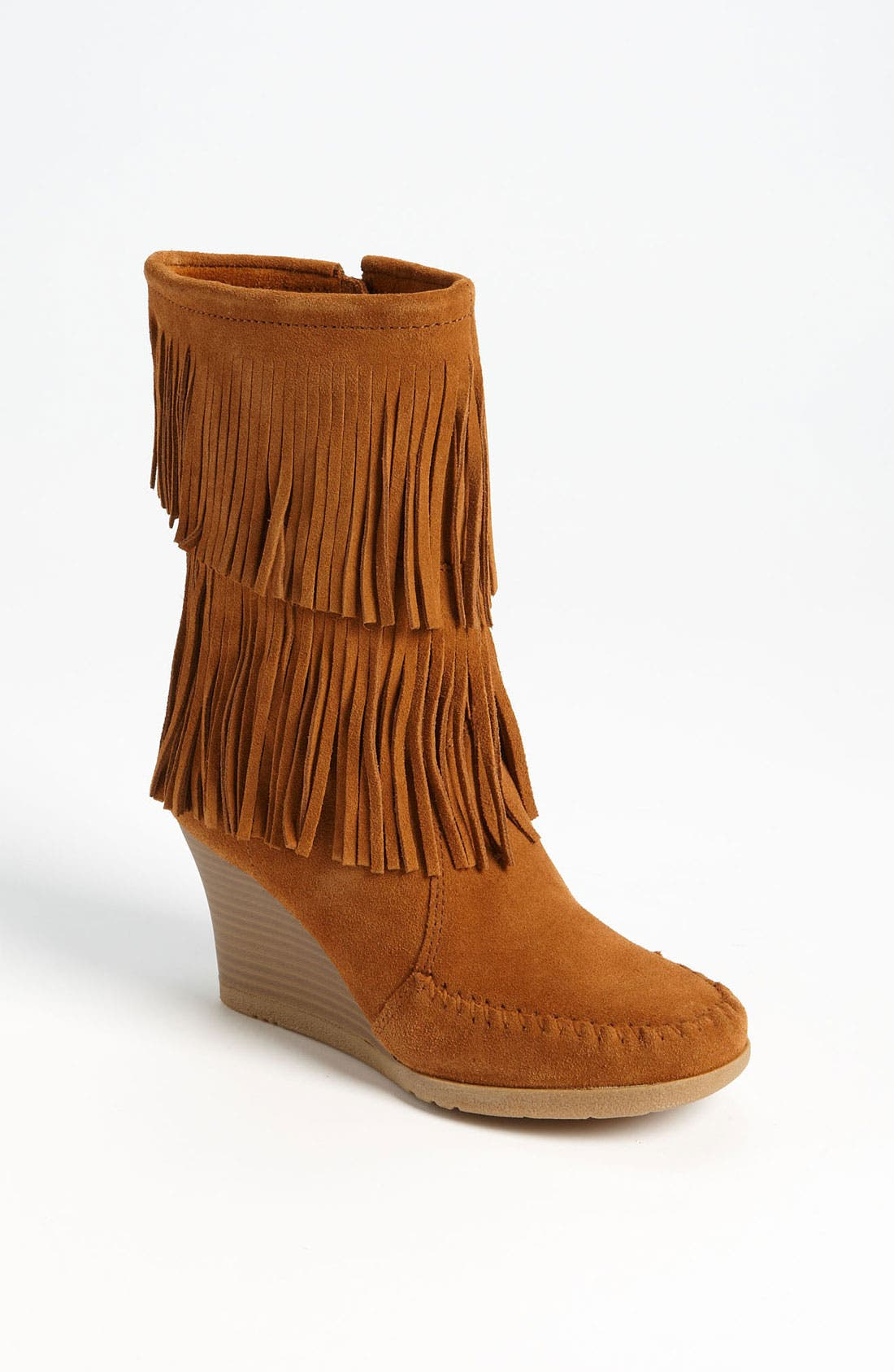 Double Fringe Boot,                         Main,                         color, Brown Suede