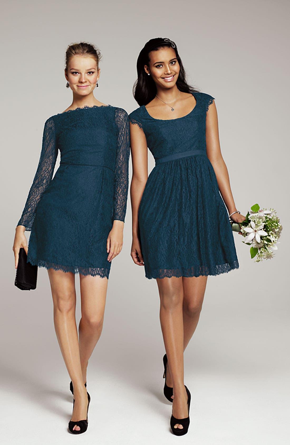 Alternate Image 4  - Shoshanna 'Minka' Long Sleeve Chantilly Lace Dress