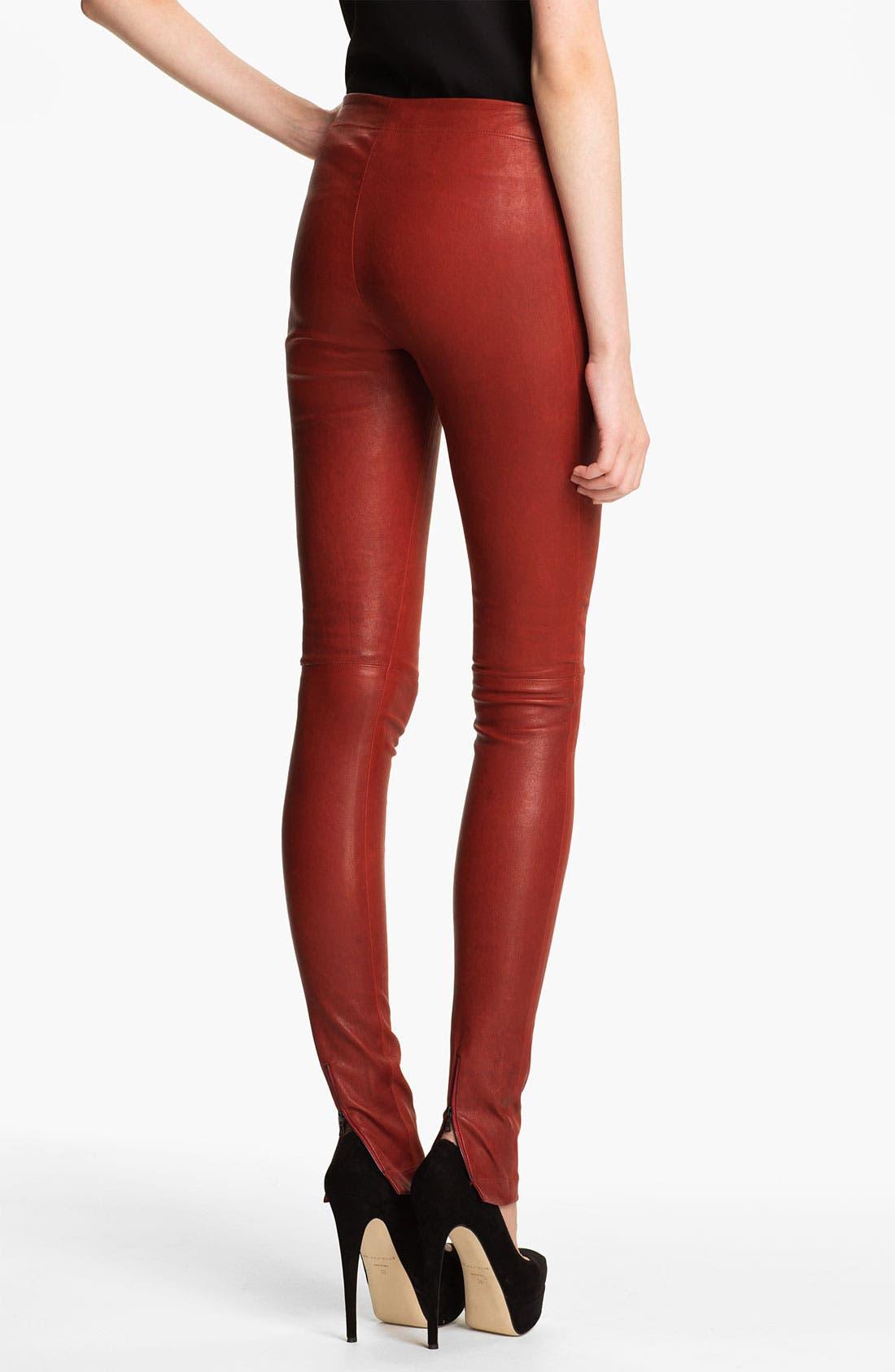 Alternate Image 2  - Alice + Olivia Skinny Lambskin Leather Leggings