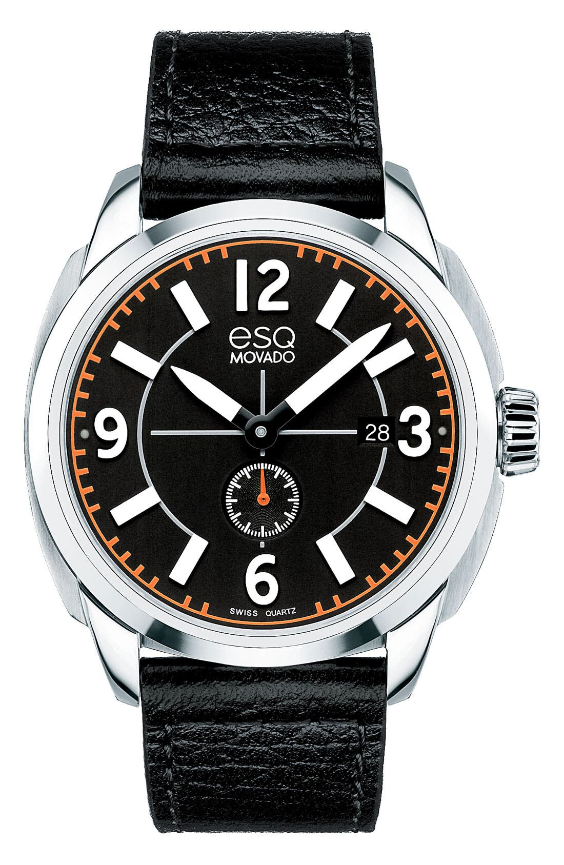 Alternate Image 1 Selected - ESQ Movado 'Excel' Round Leather Strap Watch, 43mm