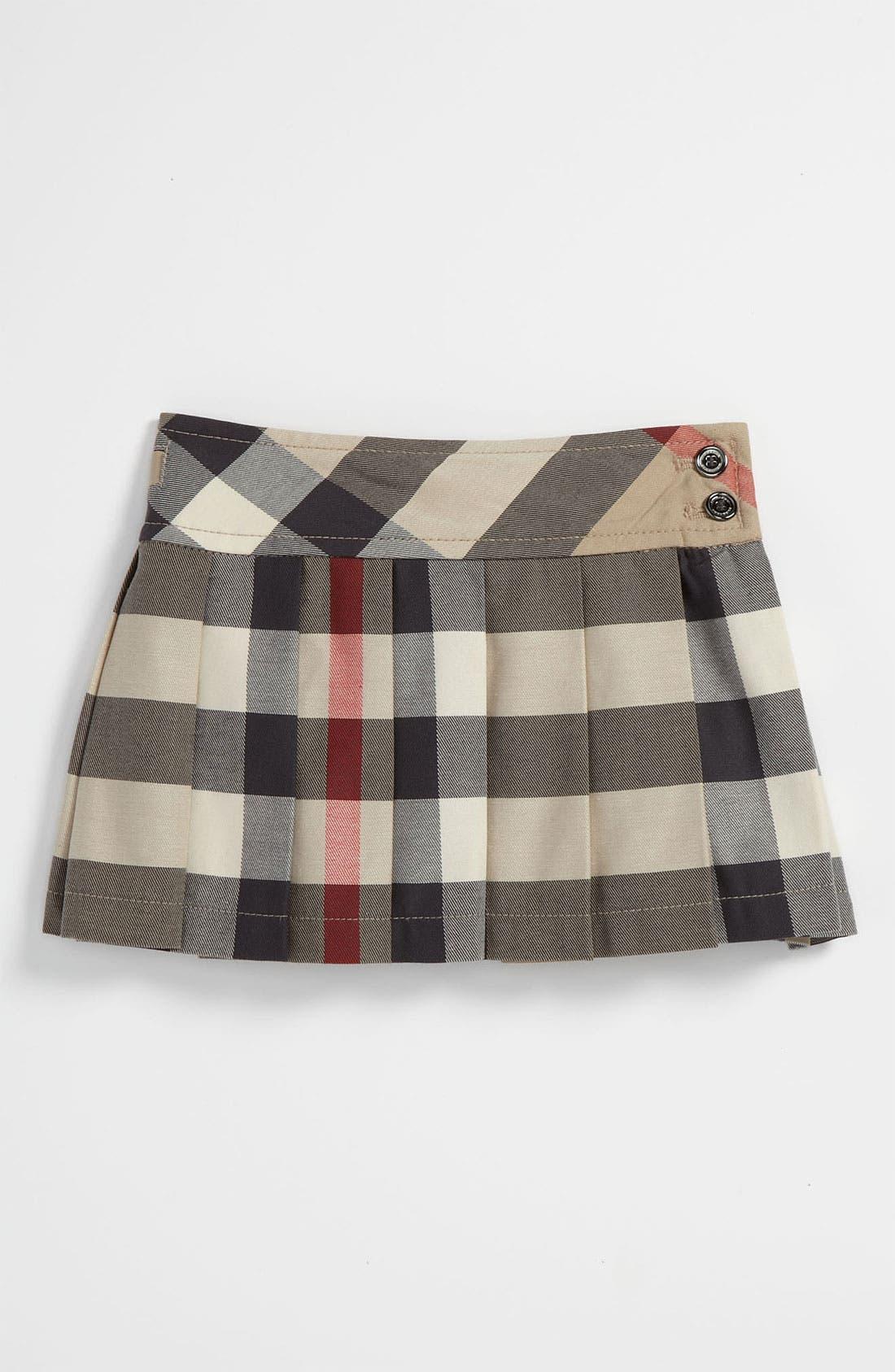 Main Image - Burberry Check Print Skirt (Toddler)