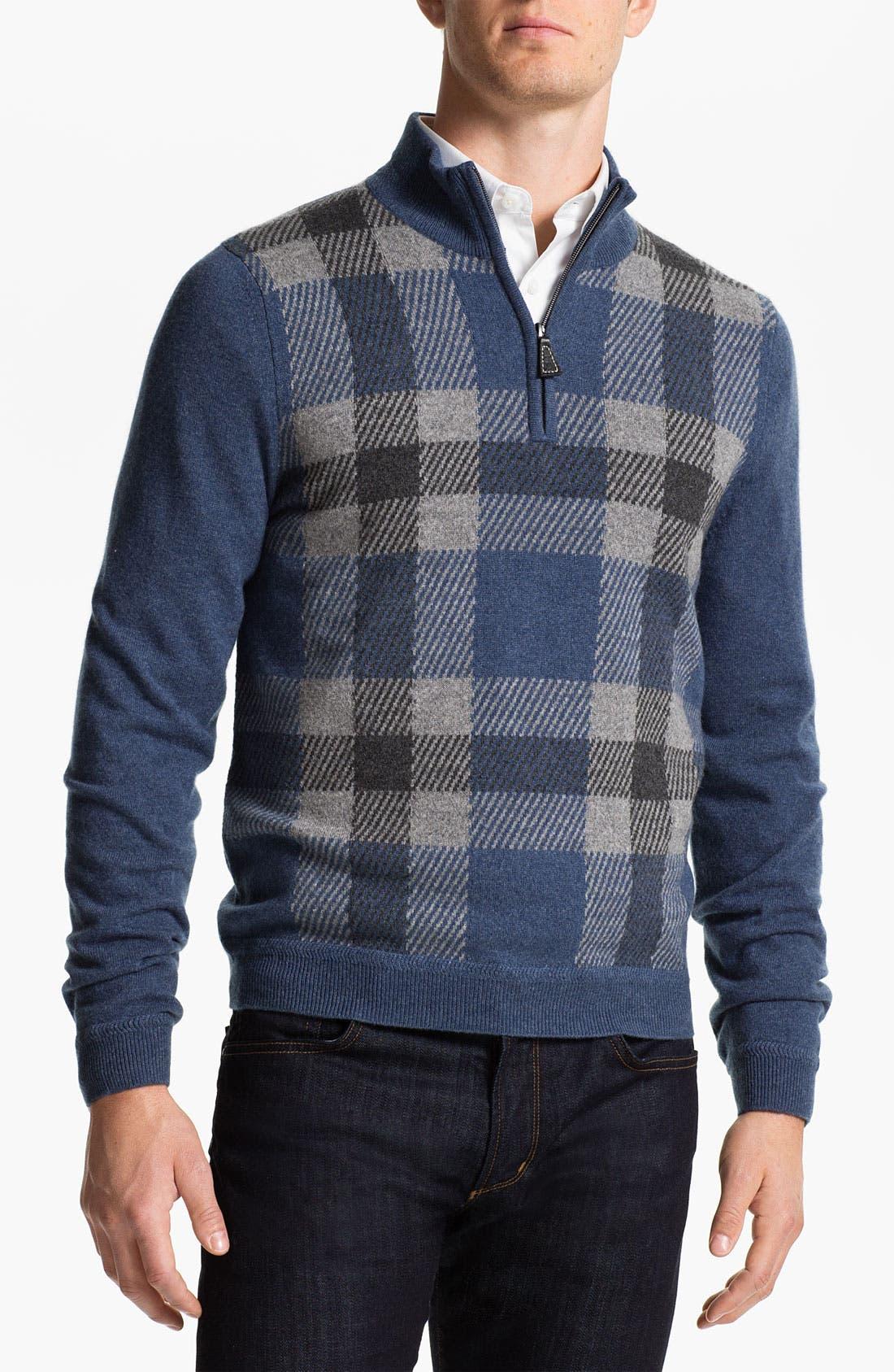 Alternate Image 1 Selected - John W. Nordstrom® Quarter Zip Cashmere Sweater