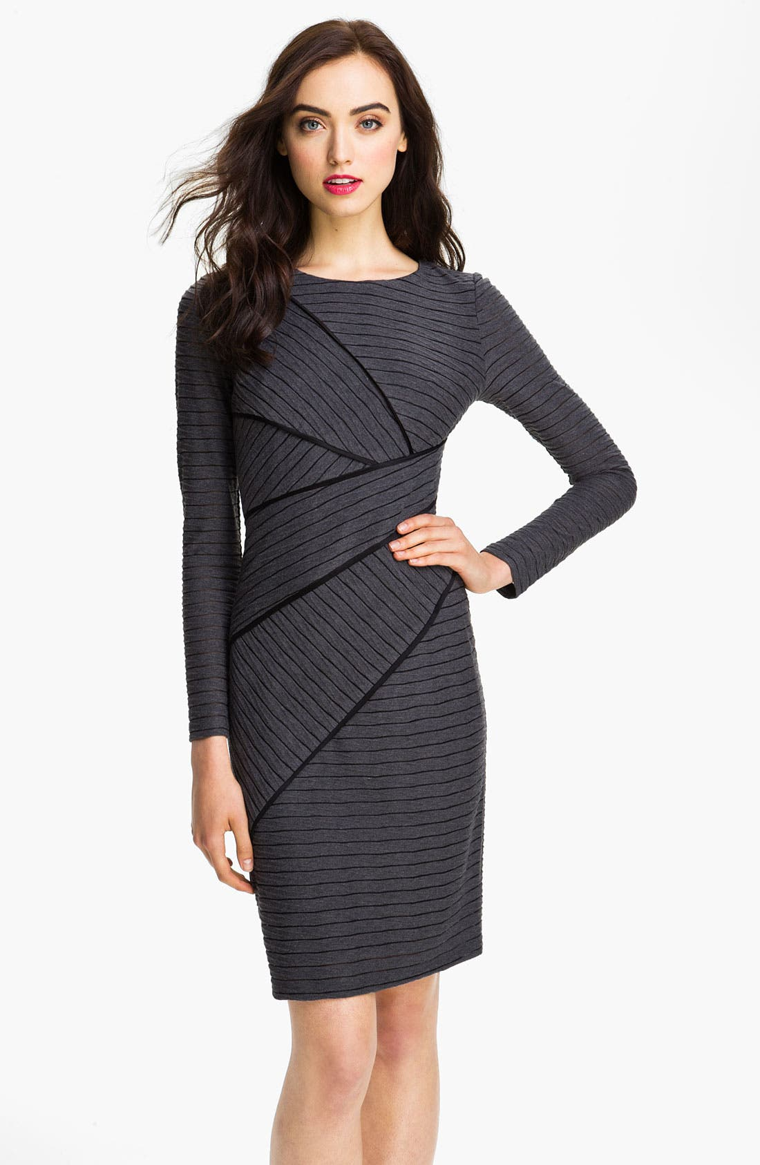 Main Image - Adrianna Papell Asymmetrical Seam Stripe Dress