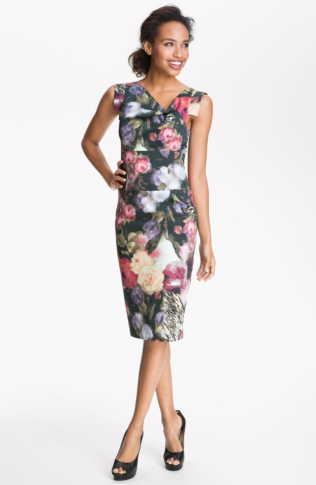 Main Image - Black Halo Floral Print Sheath Dress
