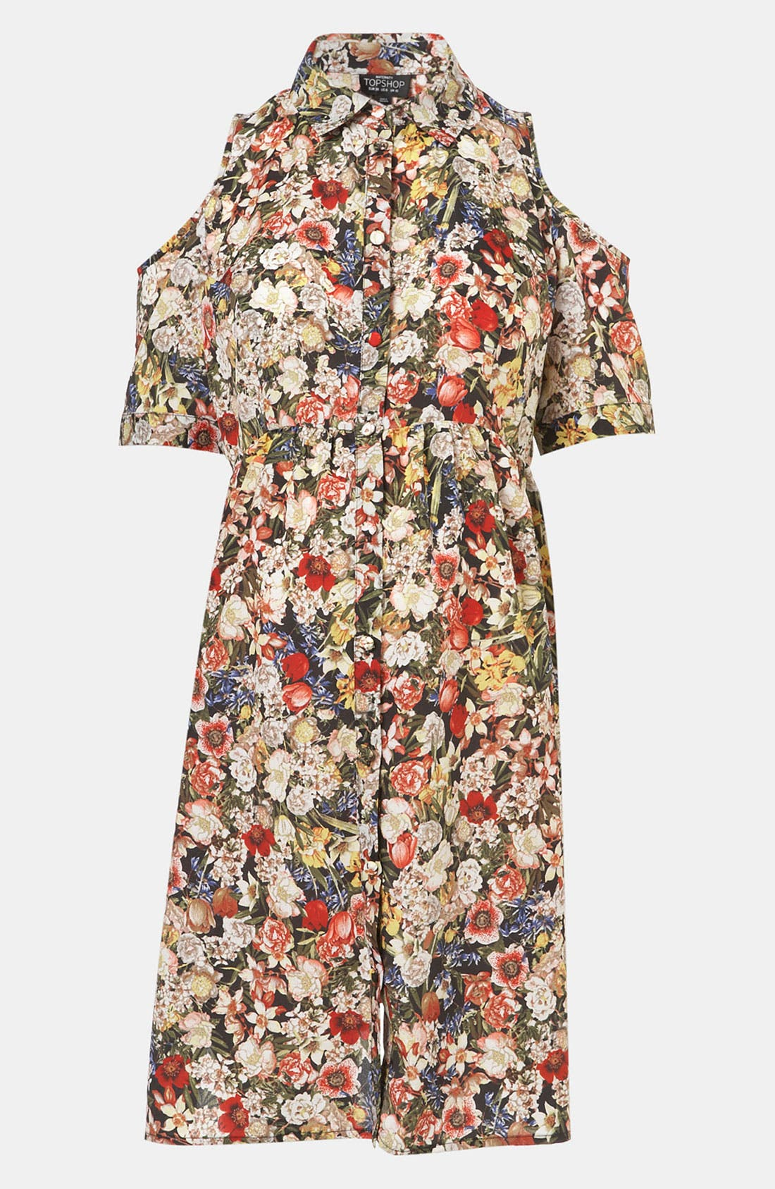 Main Image - Topshop Floral Cutout Maternity Shirtdress