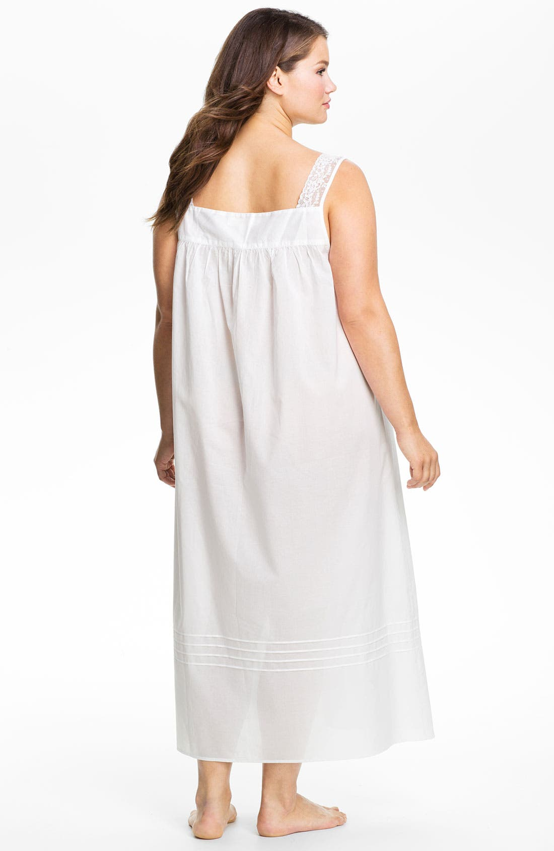 Alternate Image 2  - Eileen West Lace Trim Sleeveless Nightgown (Plus Size)
