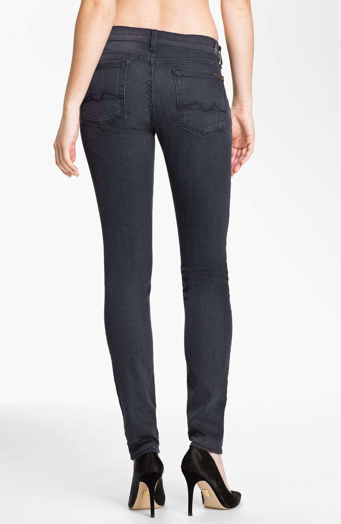 Alternate Image 2  - 7 For All Mankind® Skinny Stretch Jeans (Dark Pebbled Cloud)