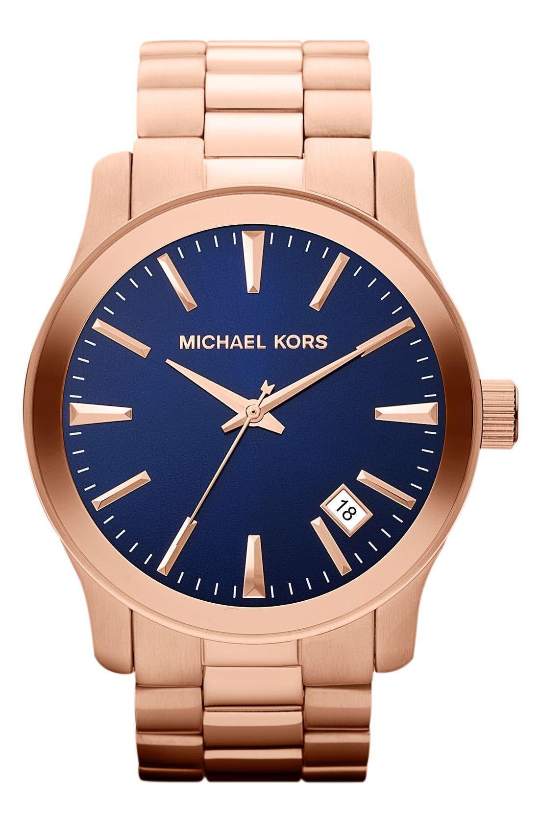 Alternate Image 1 Selected - Michael Kors 'Large Runway' Blue Dial Bracelet Watch, 45mm