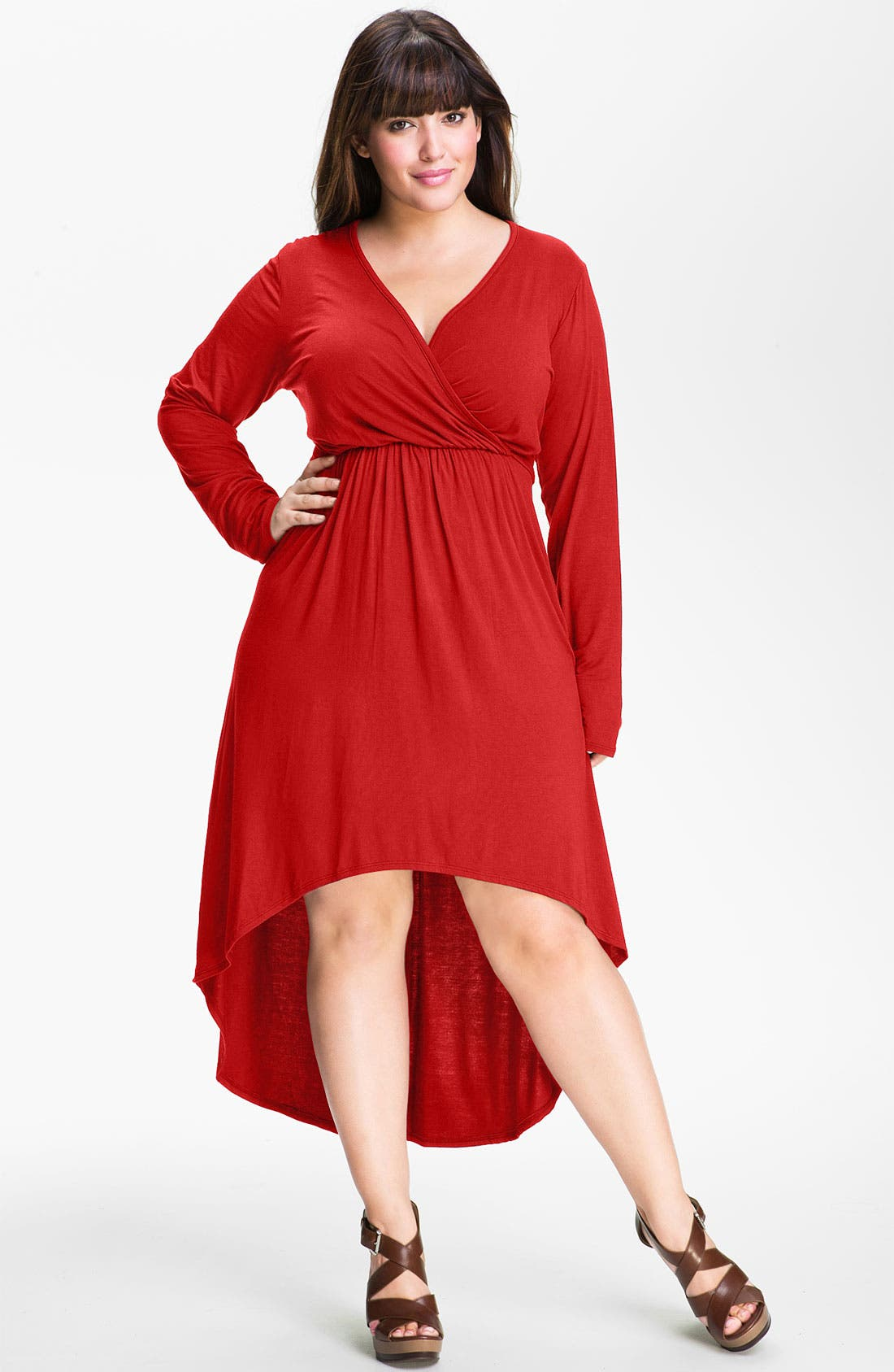Alternate Image 1 Selected - Loveappella High Low Faux Wrap Dress (Plus)