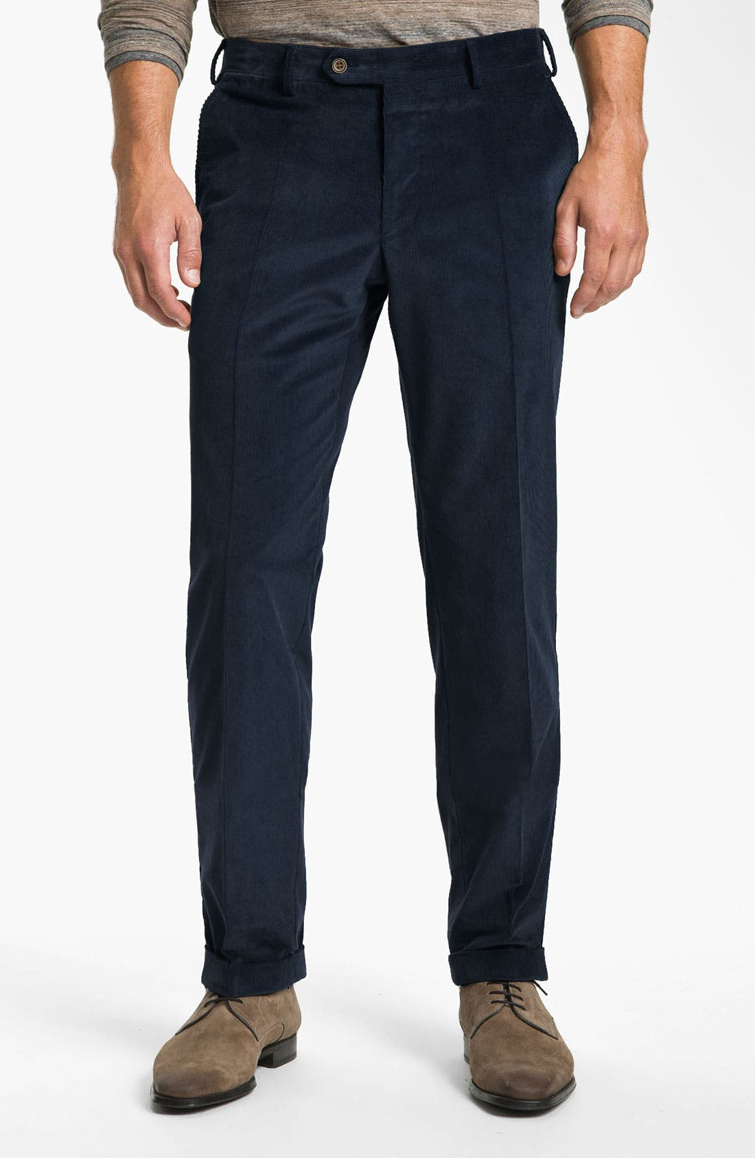 Main Image - Canali Flat Front Corduroy Pants