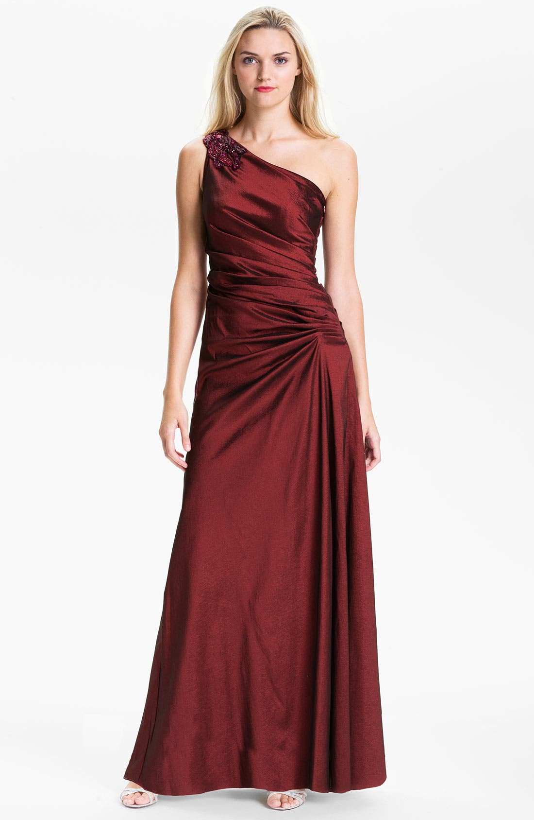 Main Image - Hailey by Adrianna Papell One Shoulder Pleated Taffeta Gown