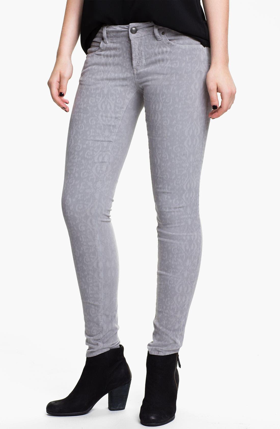 Alternate Image 1 Selected - Articles of Society Print Skinny Corduroy Pants (Juniors)