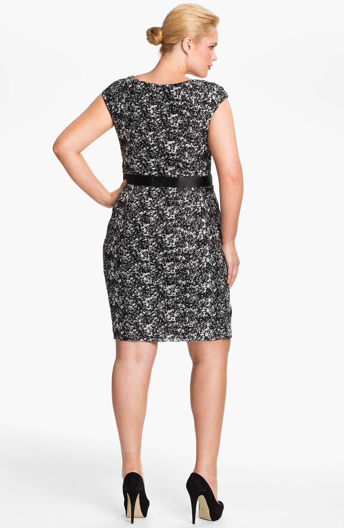 Alternate Image 2  - Alex Evenings Cap Sleeve Lace Sheath Dress (Plus)