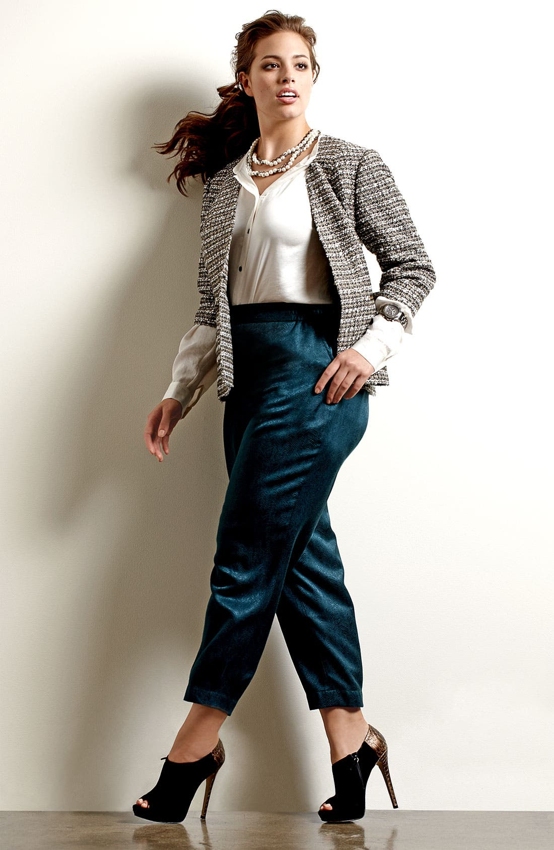 Alternate Image 6  - Sejour Slim Jacquard Pants (Plus)