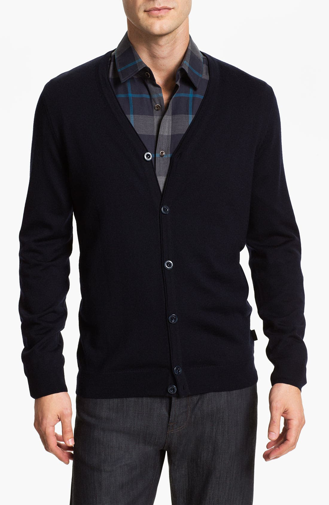 Black 'Baltimore' Wool Button Cardigan,                         Main,                         color, Black