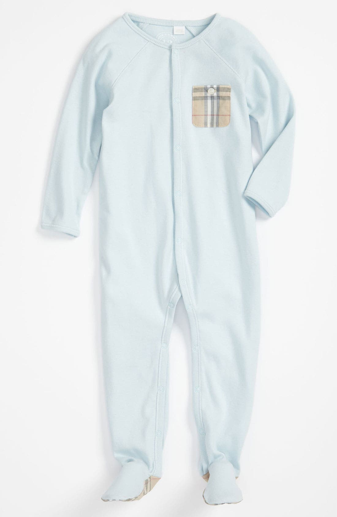 Main Image - Burberry Check Pocket One-Piece Footie Pajamas (Baby)