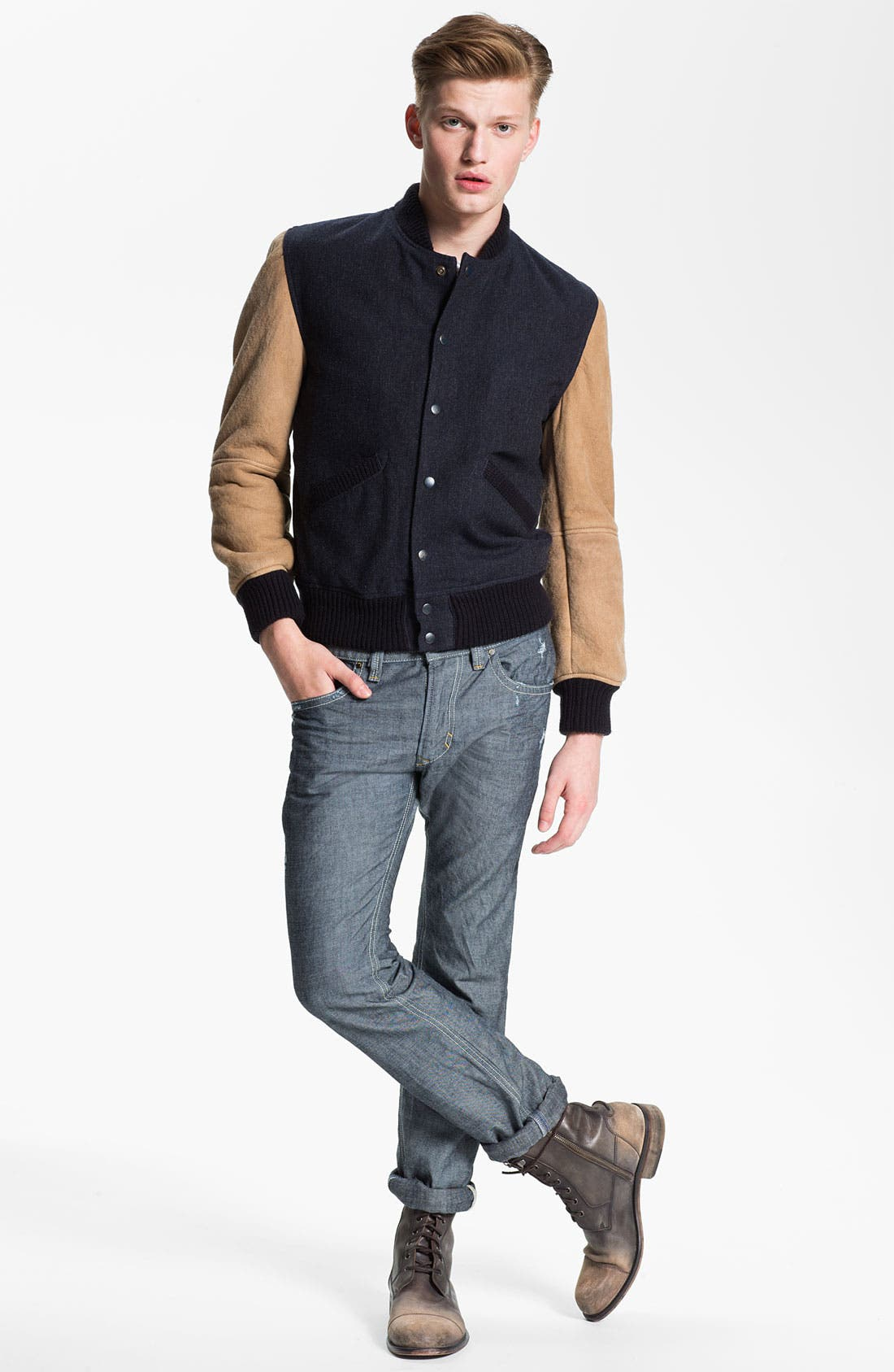 Alternate Image 5  - DIESEL® 'Thavar' Slim Straight Leg Jeans (0809D) (Online Exclusive)